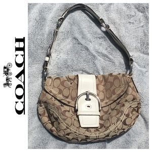 COACH Signature Shoulder Bag Leather/Canvas Purse